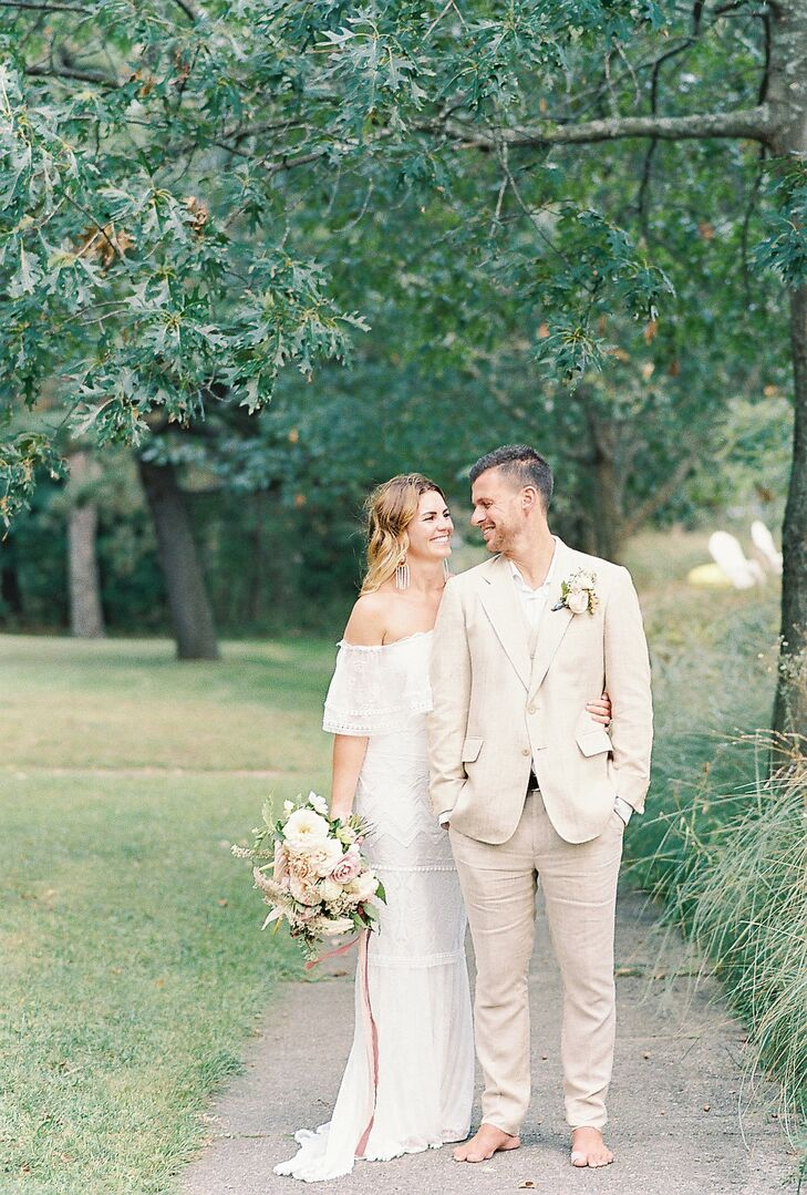 Casual Couple with Bohemian Off-the-Shoulder Dress and Tan Linen Suit