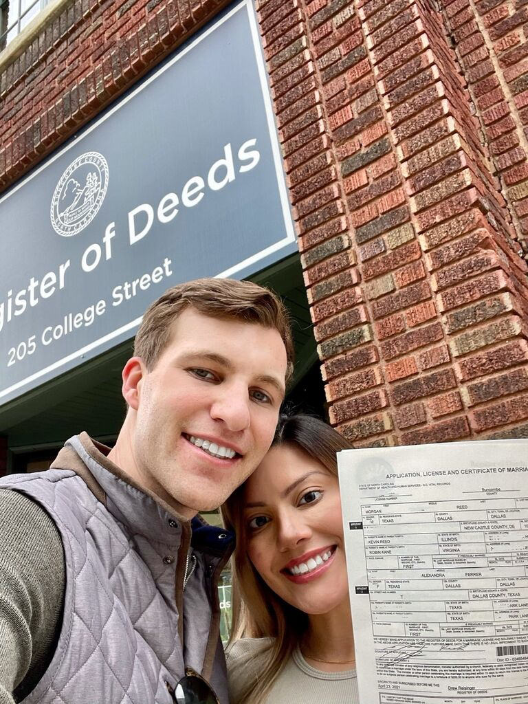Getting our marriage license in Asheville, NC!