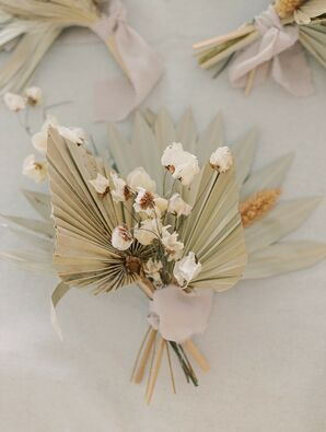 Boutonniere with Dried Flowers and Leaves