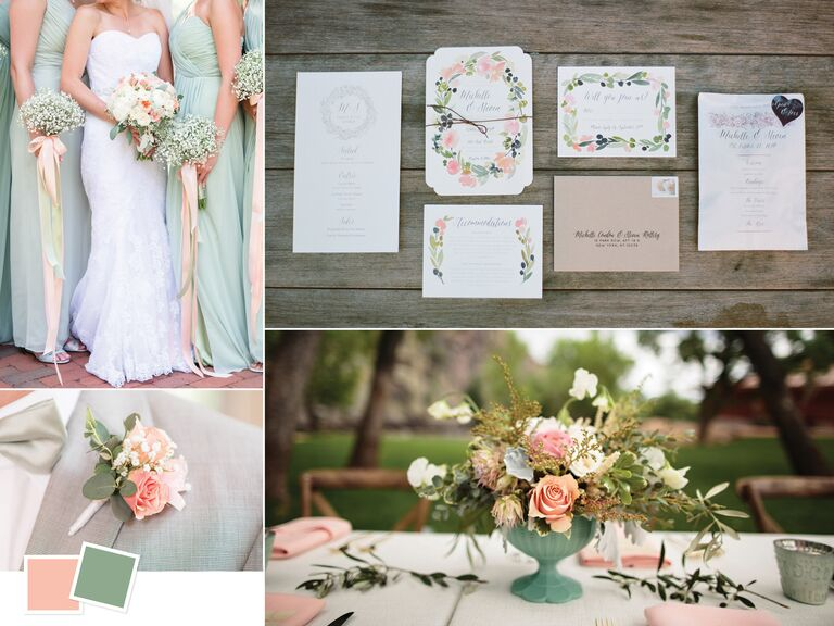 7fb81c09e4 Wedding color inspiration for a peach and sage palette