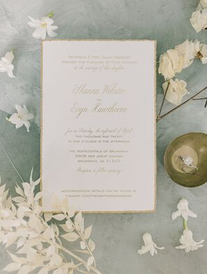 Classic White-and-Gold Wedding Invitation