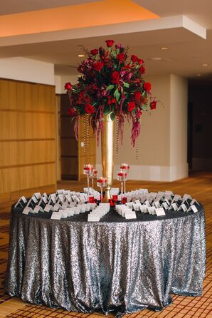 Silver Linen and Red Roses at Escort Card Table