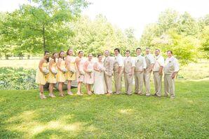 Knee-Length Yellow Bridesmaid Dresses