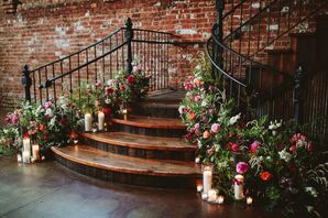 Industrial Staircase Accented with Romantic Pink Flowers, Greenery and Candles