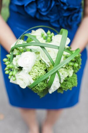 Modern Green and White Bridesmaid Bouquets