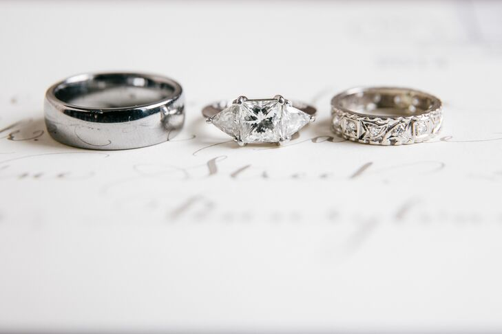 Princess Cut Engagement Ring with Trillion Side Stones