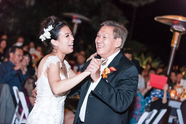 Bride Laughs with her Father during the Father-Daughter Dance