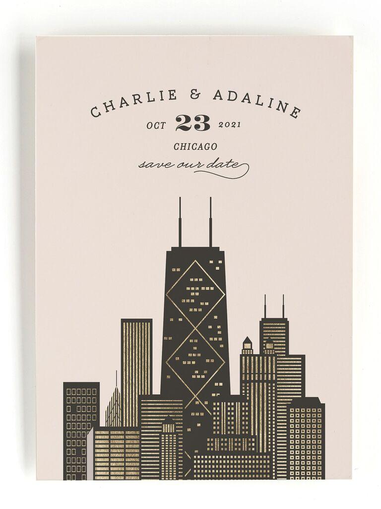 Minted metallic city destination wedding save-the-date
