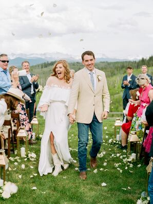 Natural Recessional with Casual Wedding Dress and Jeans
