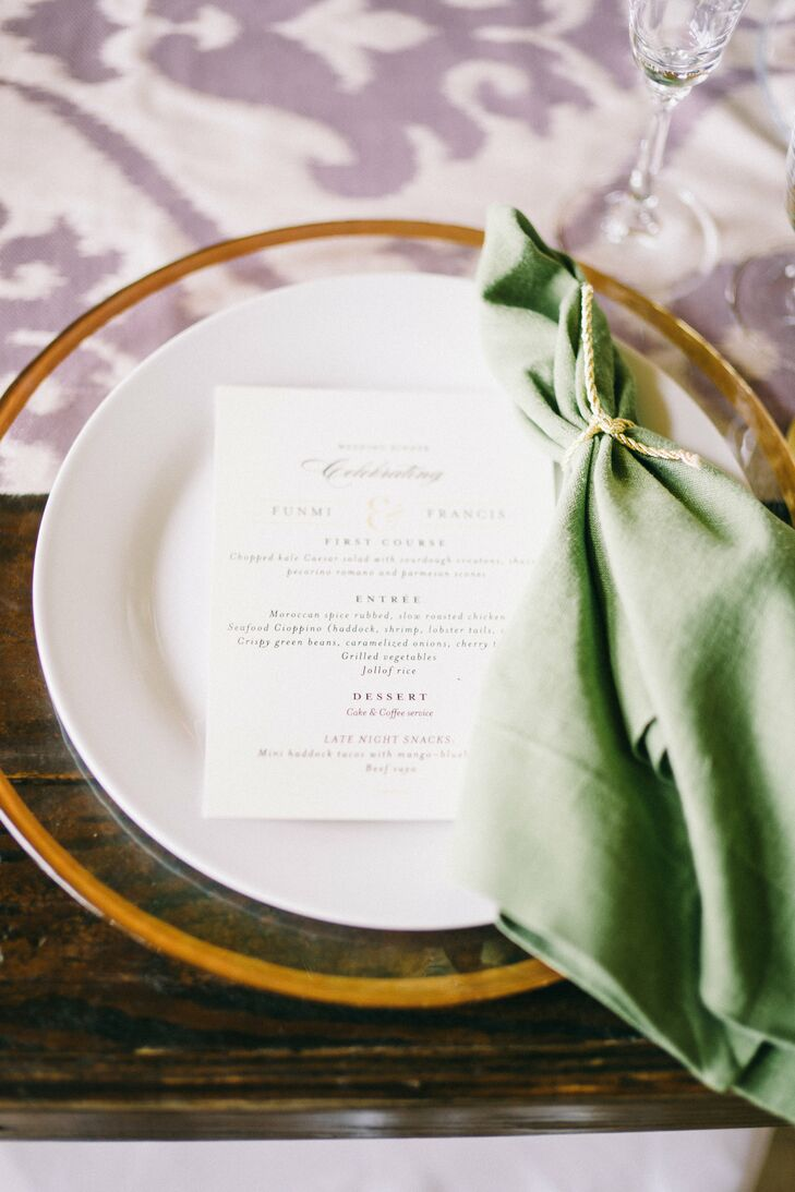 Place Setting with Green Napkin and Lavender Linens