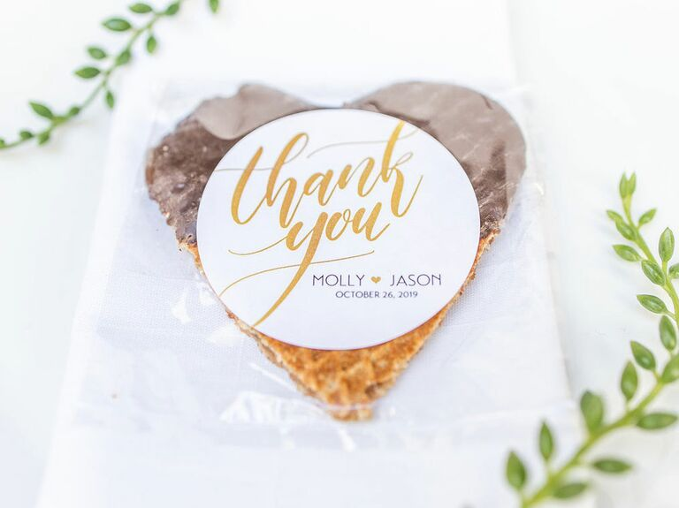 chocolate dipped waffle wedding favor
