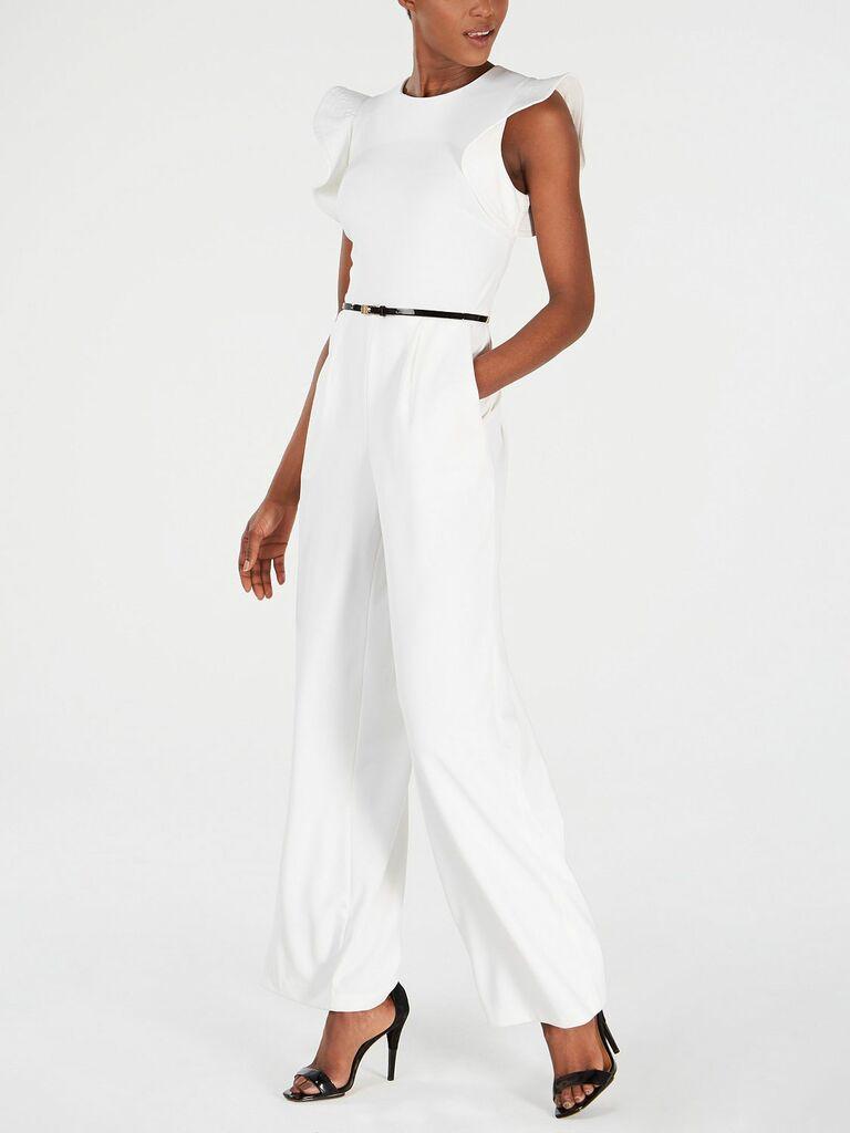 white ruffled sleeve jumpsuit