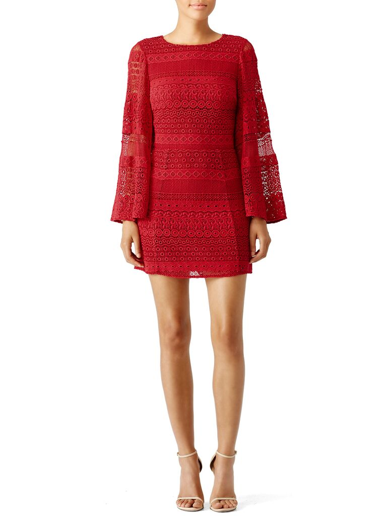 Lace red long sleeve dress