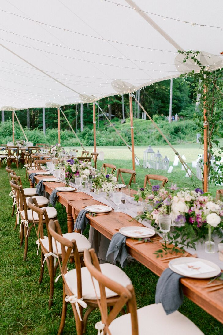 Tented Reception with Farm Table at Chesterwood Estate in Stockbridge, Massachusetts