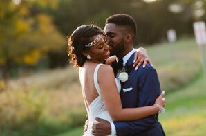 Glam Couple in Ivory Wedding Dress and Navy Blue Suit