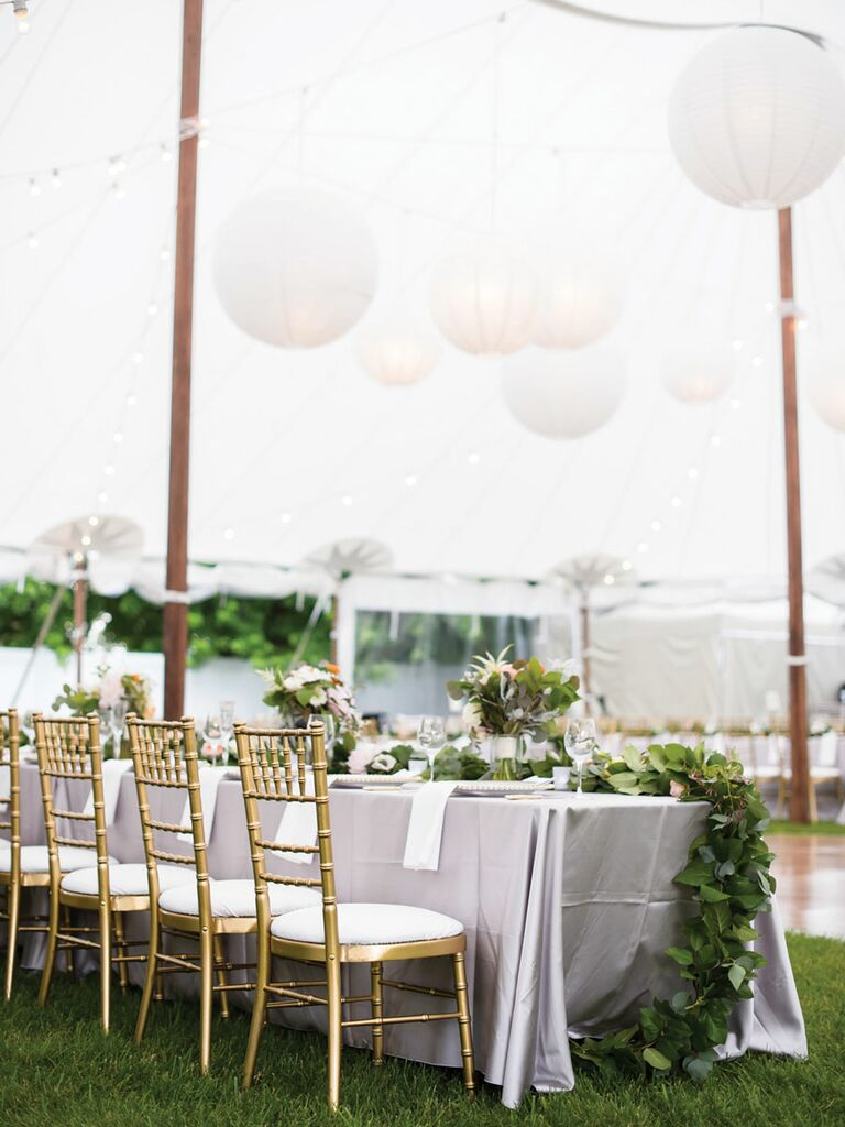 Ivory, gold and green wedding reception color scheme