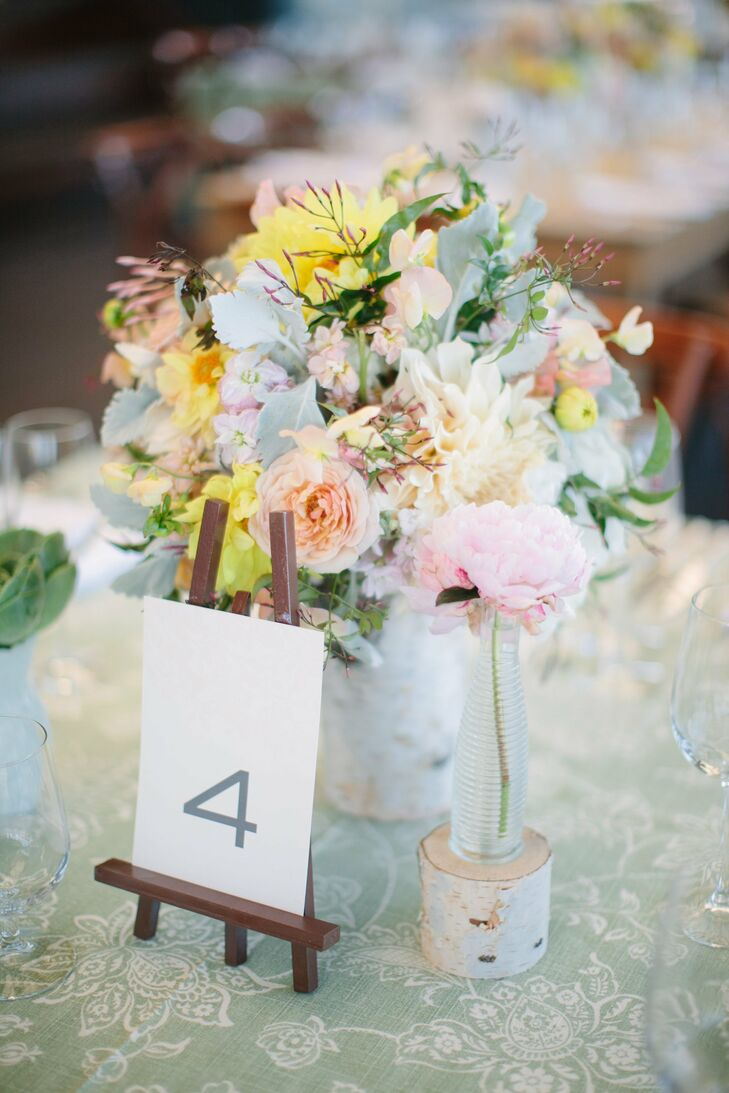Peony and Dusty Miller Centerpieces with Birch Wood