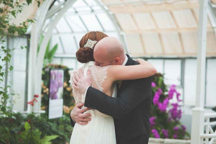 Rebecca and Derik embrace each other passionately after they get a first look of each other before the wedding ceremony.