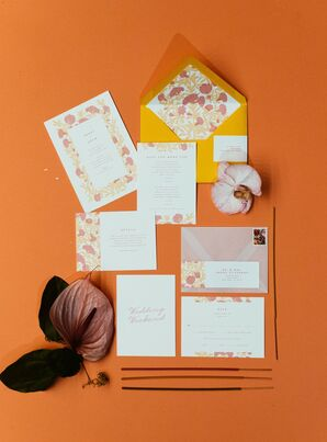 Bohemian Pink and Orange Invitation Suite with Floral Motif