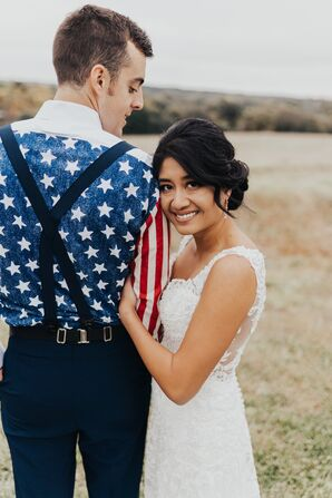 Elegant Bride and Patriotic Groom