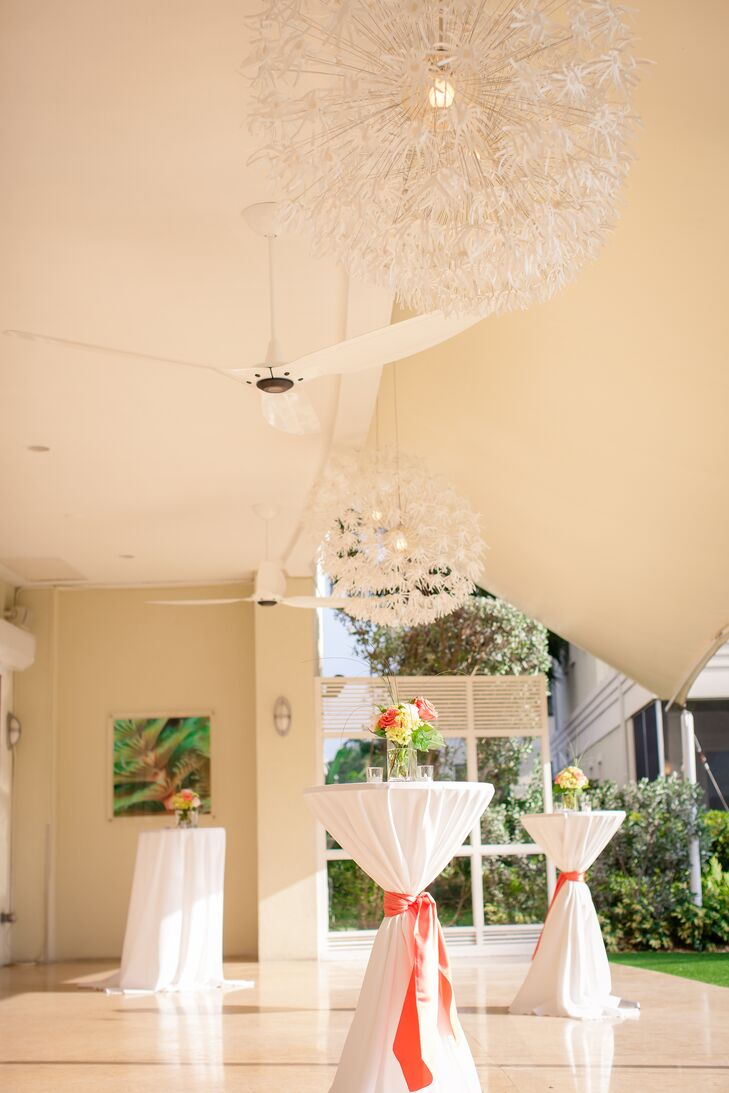 White Cocktail Table Linens And Coral Sash