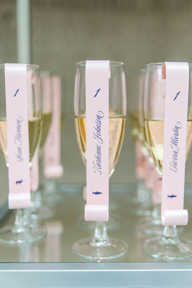 Champagne Escort Cards for Wedding at The University of Maryland