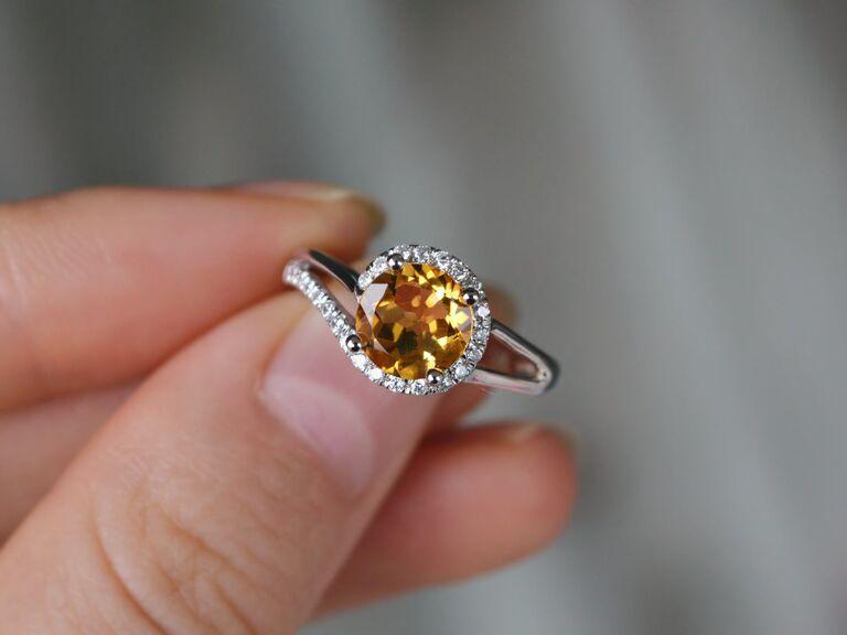 sparkling citrine engagement ring