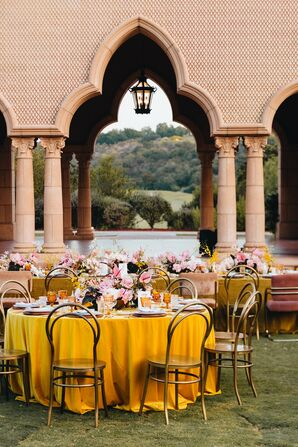 Boho Reception with Moroccan-Inspired Architecture and Mustard-Yellow Linens