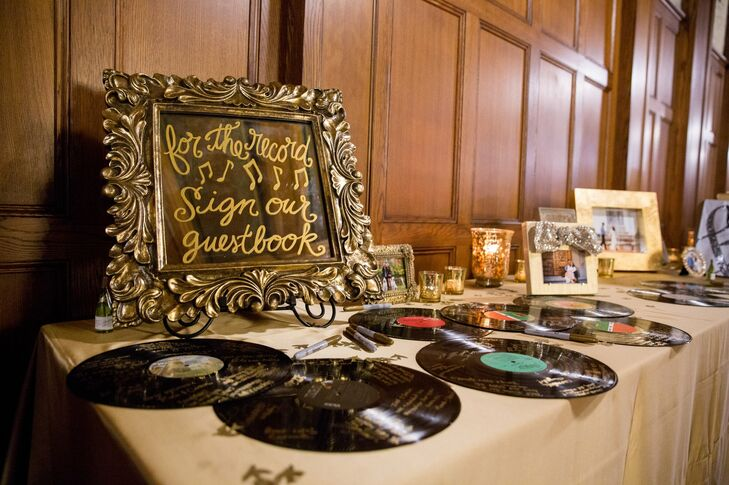 Vintage vinyl records, in lieu of a traditional guest book, added a little flair to the wedding.