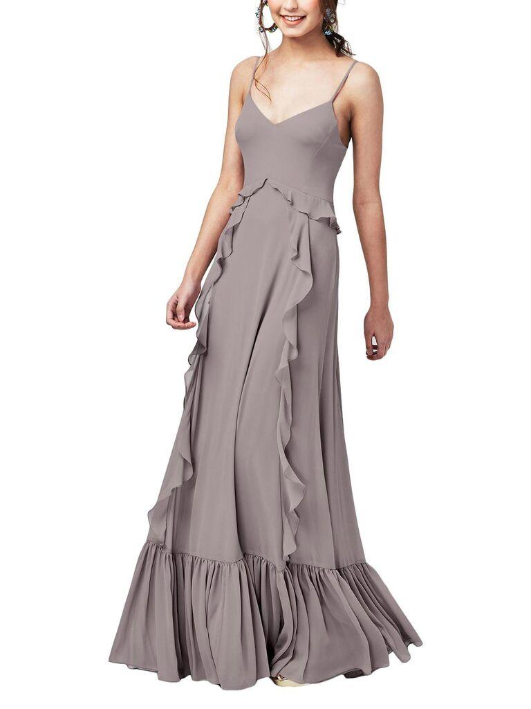 Bohemian gray bridesmaid dress