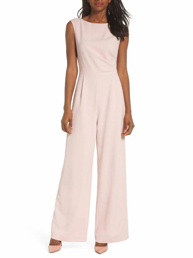Blush sleeveless Vince Camuto spring bridesmaid jumpsuit
