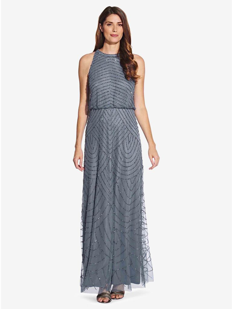 adrianna papell beaded grey winter bridesmaid dress