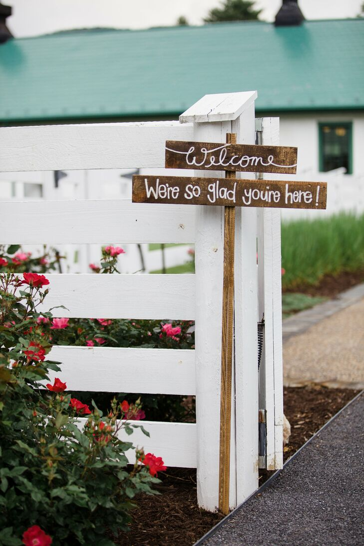 Echoing the rustic nature of the Homestead Preserve in Warm Springs, Virginia, Blair and Bryan incorporated wooden signs and other DIY decor.