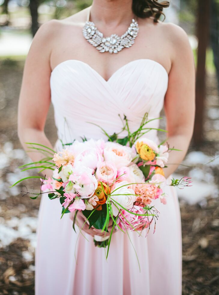 Strapless Blush Pink Bridesmaid Dress from Mestads
