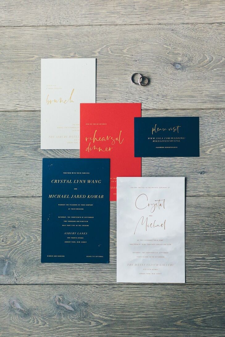 Modern Red, White and Blue Wedding Invitations with Gold Typography