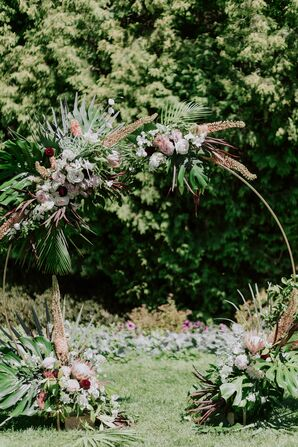 Modern Wedding Arch with Roses, King Protea and Greenery