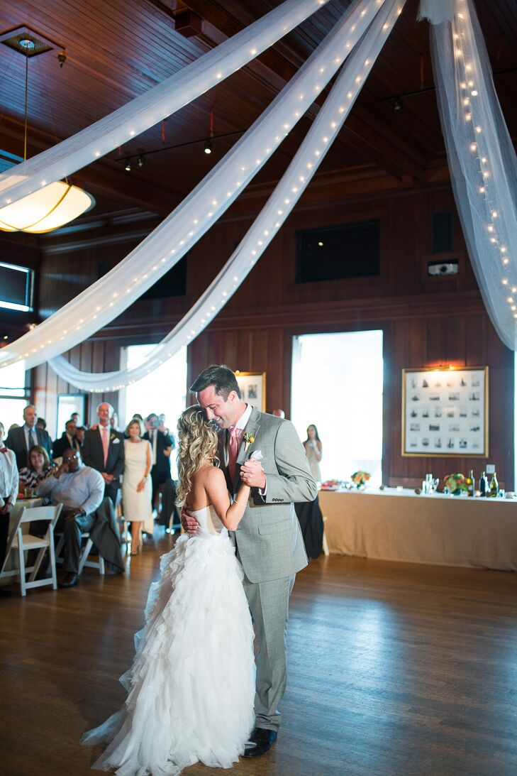 Brooke and Clayton swayed to their first dance on the wooden dance floor inside Corinthian Yacht Club in Tiburon, California, with white linens and twinkling string lights draped from above. They chose the location because of the gorgeous views that showcased the charm of San Francisco, where Brooke and Clayton went on their first date.
