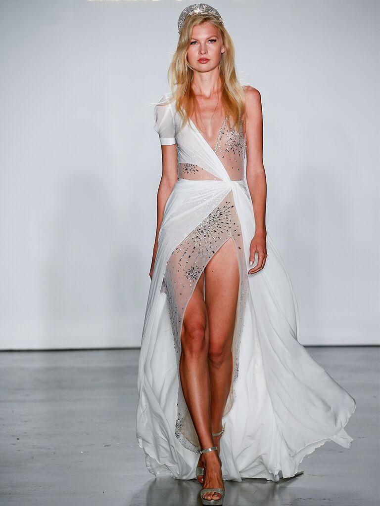 Sheer Asymmetrical A-Line Wedding Dress