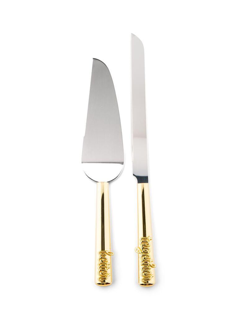 Better together wedding cake knife and server