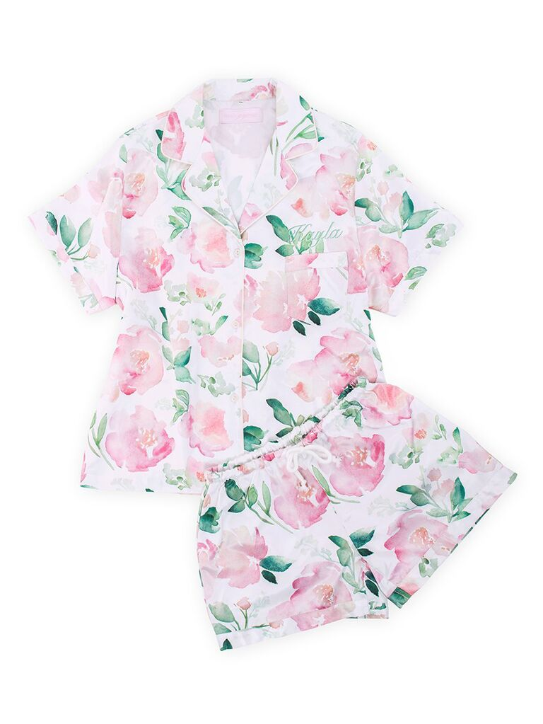 Pink floral bridesmaid pajamas set