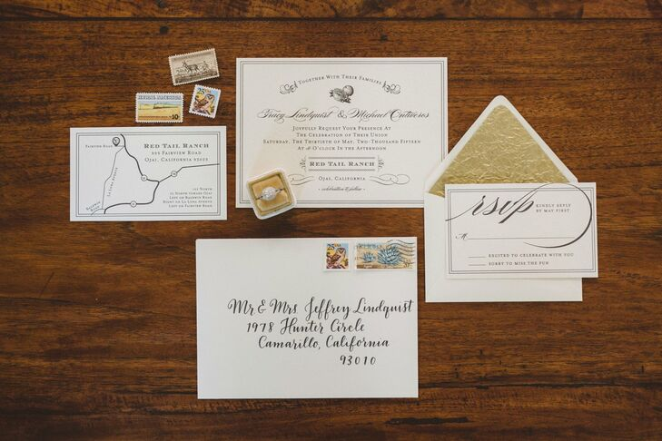 Tracy and Michael's invitation suite featured vintage details, such as vintage-style stamps and delicate calligraphy. For an elegant touch, each RSVP envelope was lined in golden leaf.