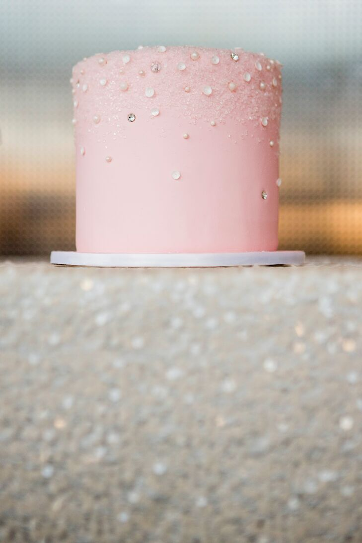 Pink Cake with White Pearls