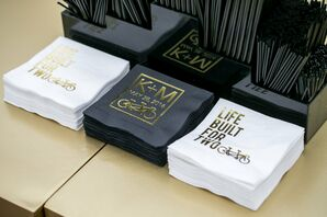 Personalized Cocktail Napkins in Black, White and Gold