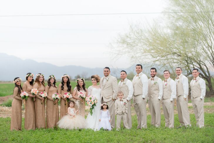 Neutral Wedding Party at Whispering Tree Ranch