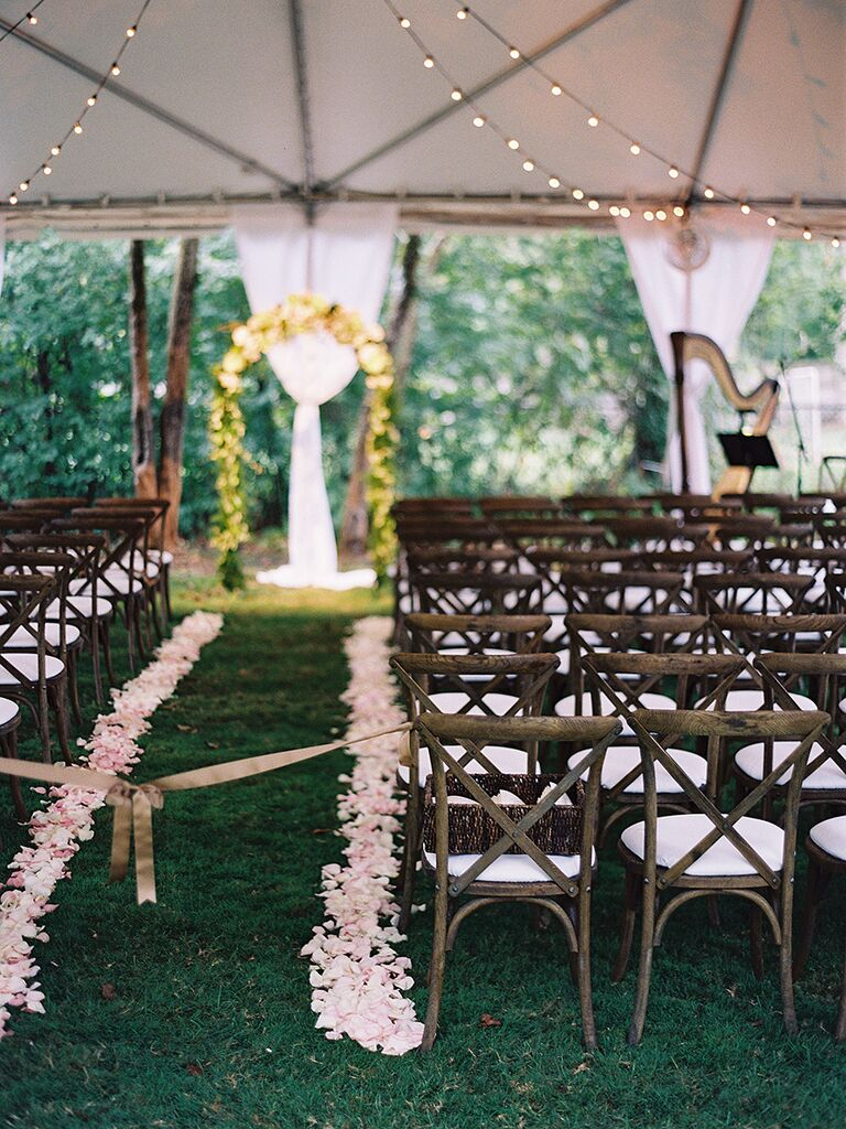 Rustic wedding ceremony aisle decor