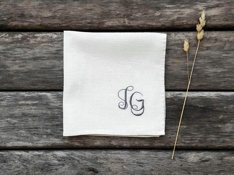 Monogrammed linen pocket square