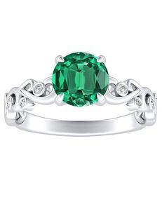 DiamondWish.com Vintage Emerald, Round Cut Engagement Ring