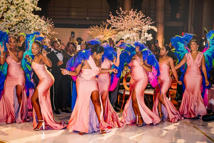 Bridal Party Dance During Reception at Cipriani Wall Street in New York City