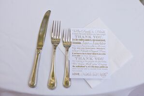 Gold and White Thank You Notes
