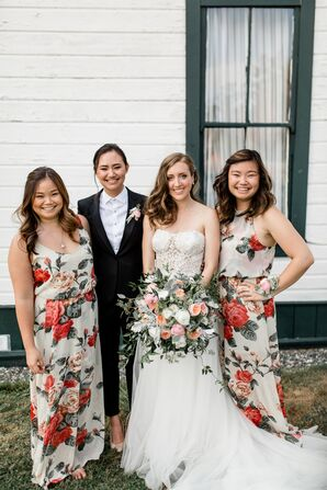 Modern Floral Bridesmaid Dresses